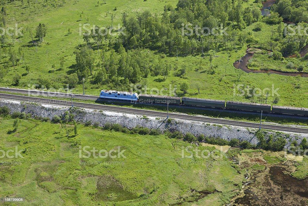 moving train on the Trans Siberian railroad stock photo