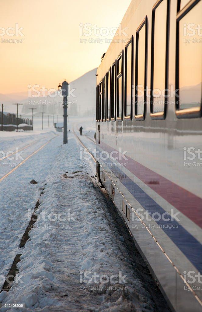 Moving train stock photo