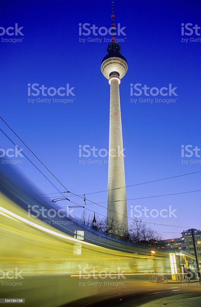Moving Tram in front of Television Tower, Berlin royalty-free stock photo