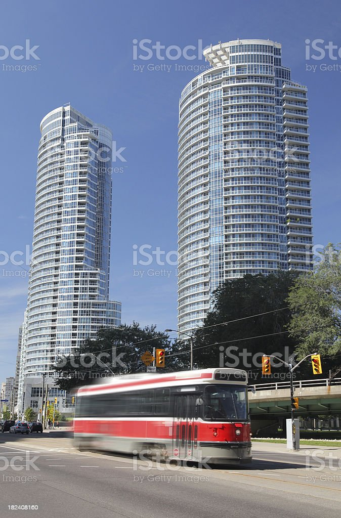 Moving tramway in Toronto city street stock photo