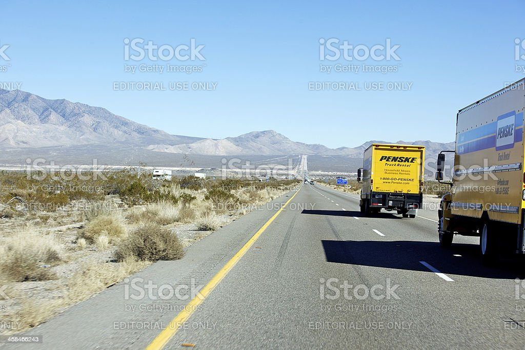 Moving truck on Nevada Highway stock photo
