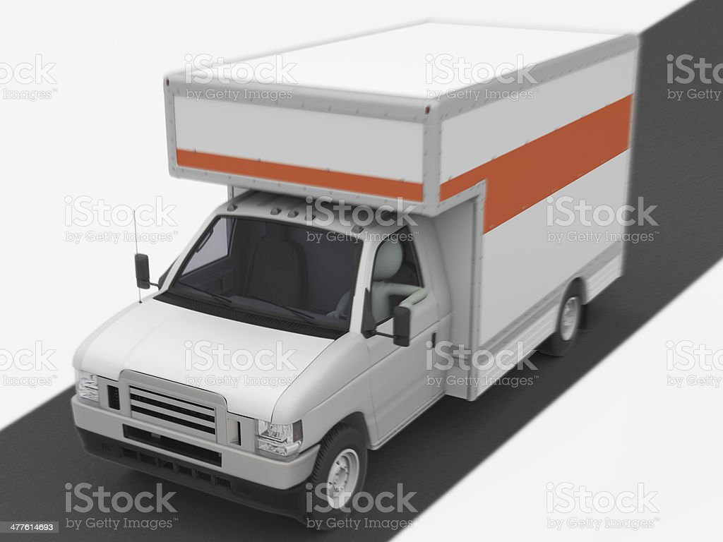 Moving Truck on the Road stock photo
