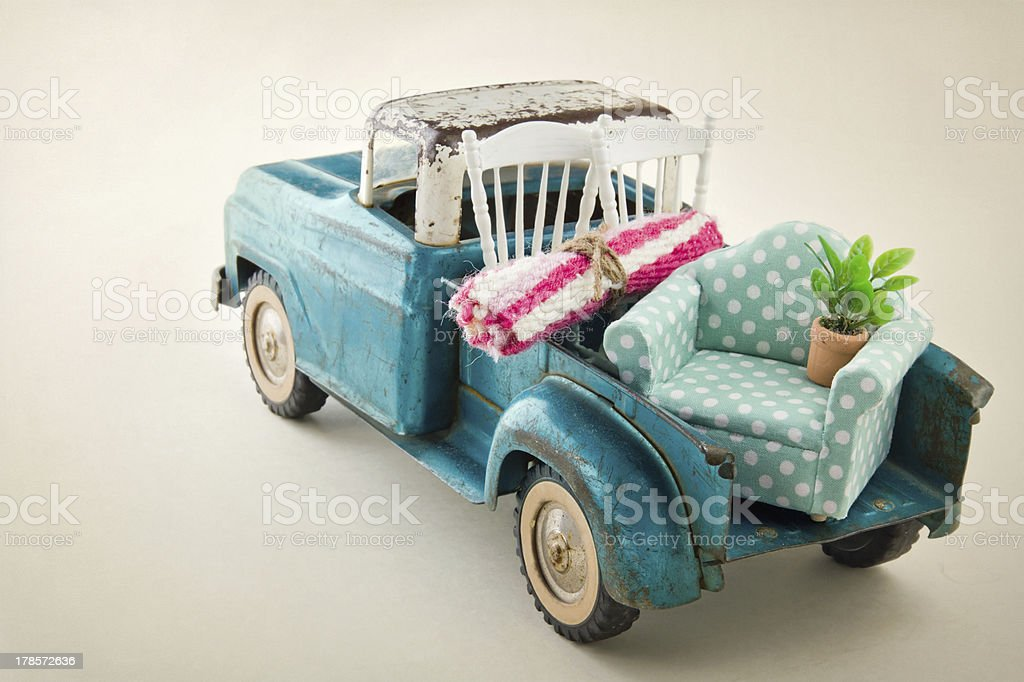 Moving truck packed with furniture stock photo