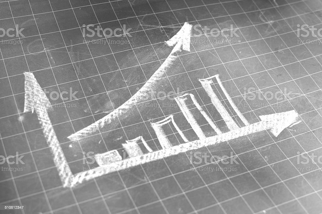 Moving up graph stock photo