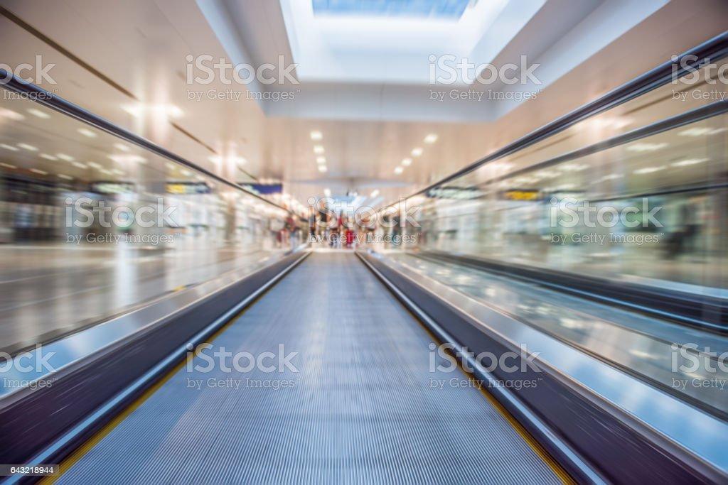 Moving Walkway At Airport stock photo