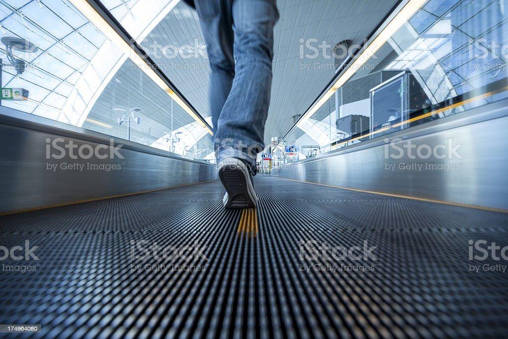 Moving walkway at Dubai Airport royalty-free stock photo