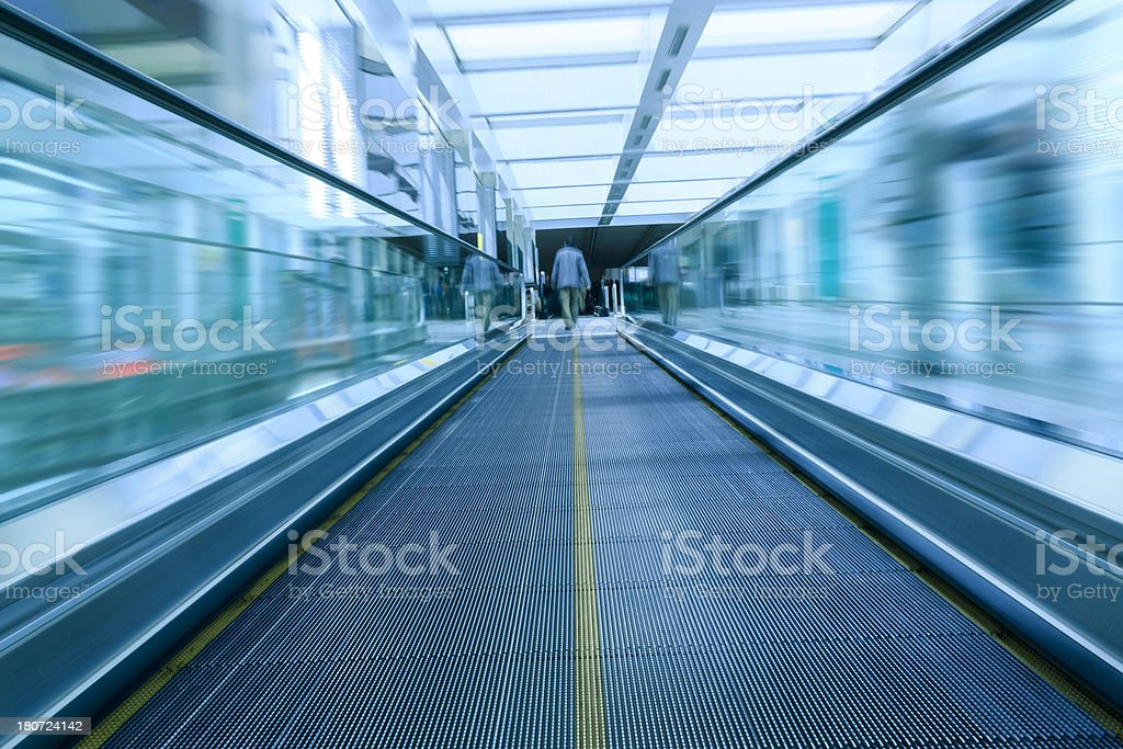 Moving walkway at the airport royalty-free stock photo