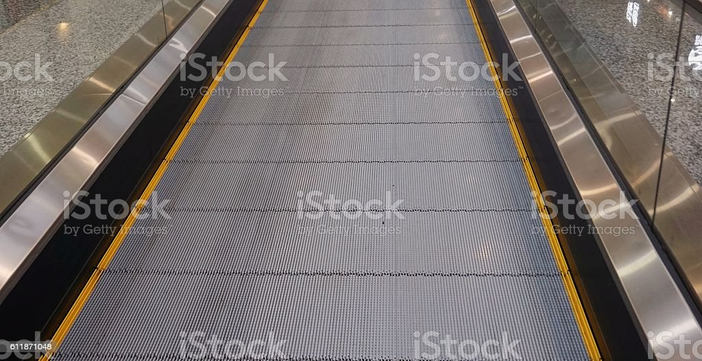 moving walkway, flat escalator stock photo