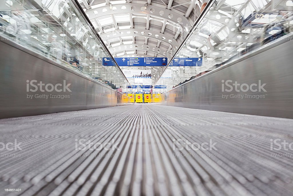 Moving walkway in airport stock photo
