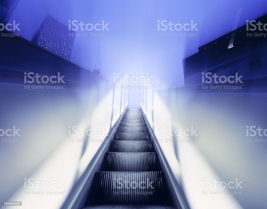 Moving walkway in business district. royalty-free stock photo