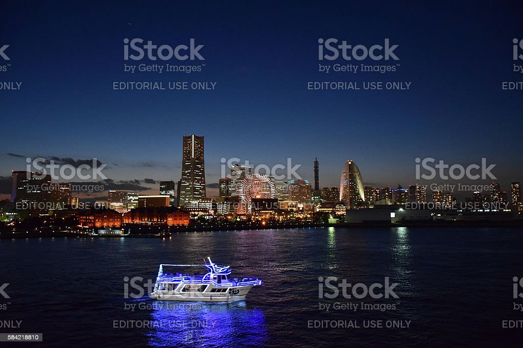 Moving water ferry at Minatomirai downtowm area in Yokohama, Japan stock photo