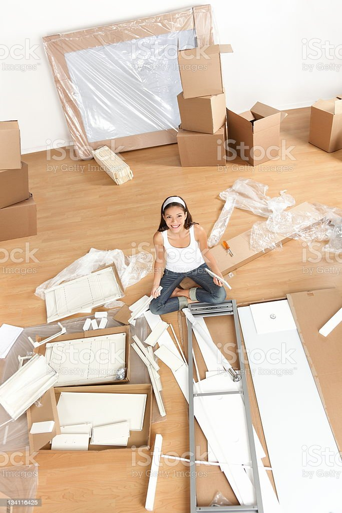Moving woman in new home royalty-free stock photo