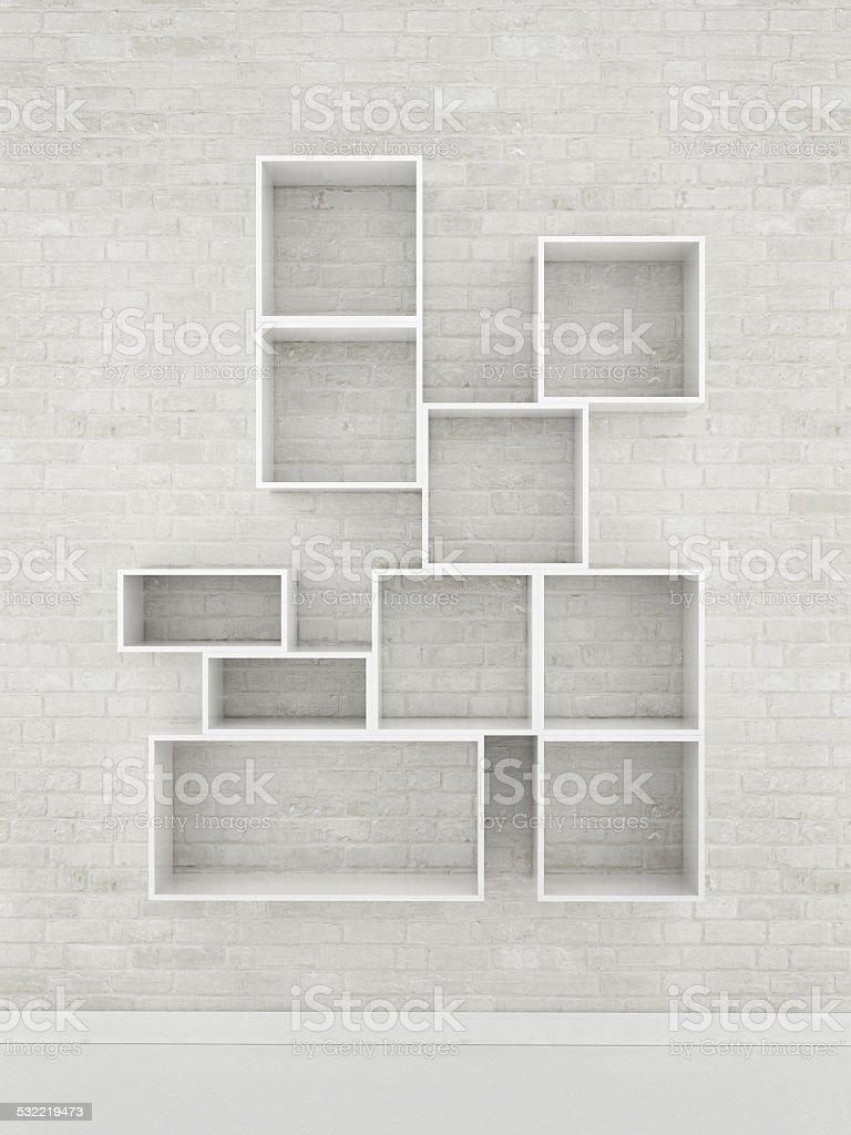 movk up empty shelf, 3d illustration stock photo