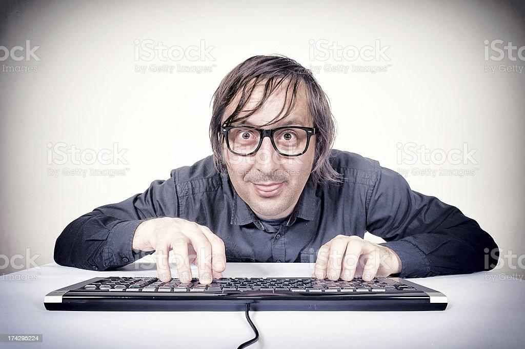 Movking hacker royalty-free stock photo