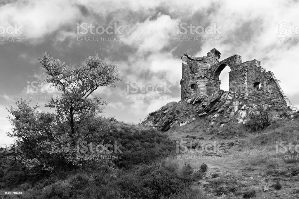 Mow Cop Castle Ruins on Hillside, Black and White royalty-free stock photo
