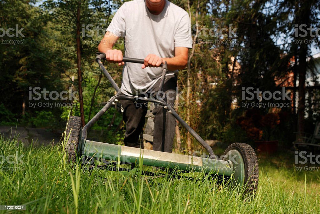 Mowing a lawn with a push mower. stock photo