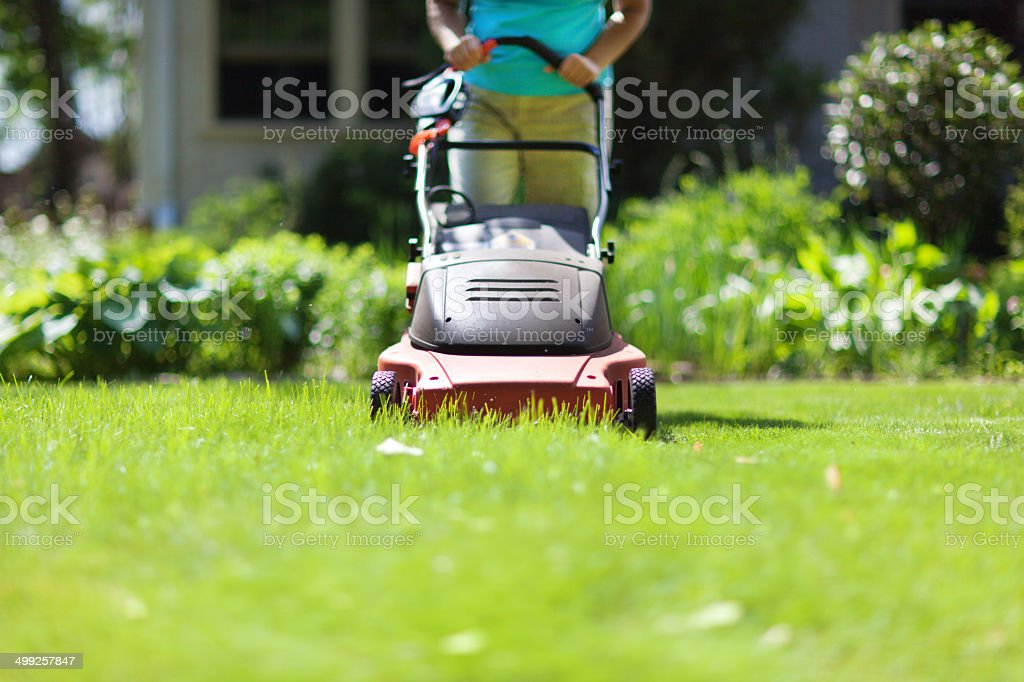 Mowing Grass with Electric Lawn Mover stock photo