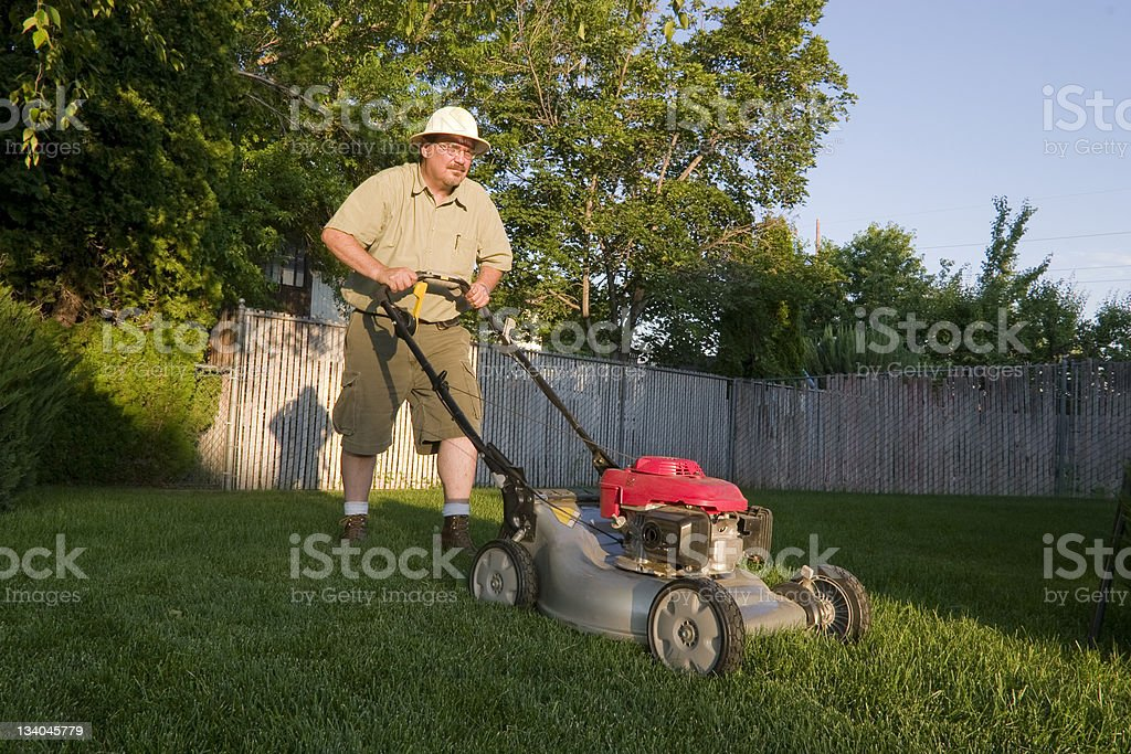 Mowing Lawn stock photo