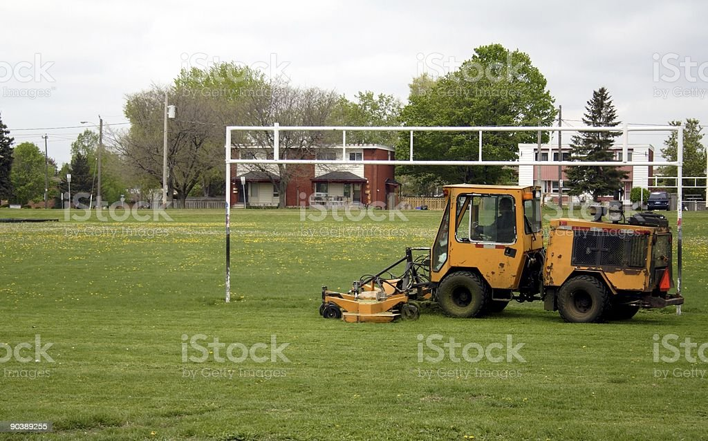 Mowing the Soccer Field royalty-free stock photo