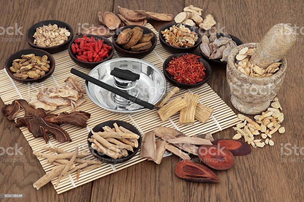 Moxa Sticks and Chinese Herbs stock photo