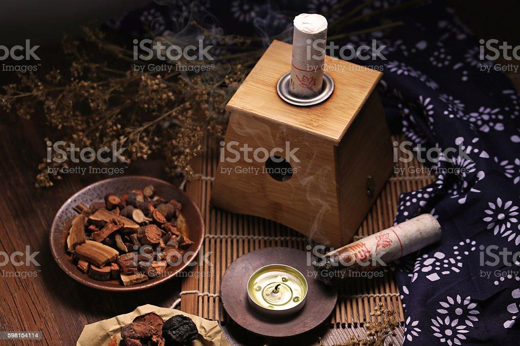 Moxibustion Chinese medicine stock photo