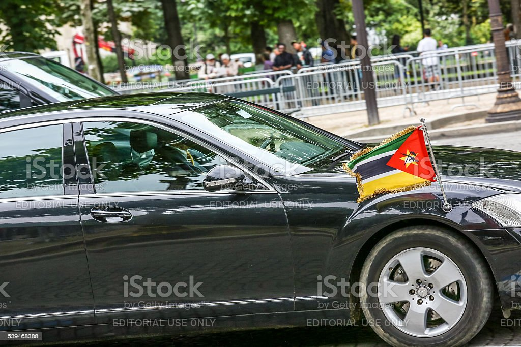 Mozambique Diplomatic car during Military parade stock photo