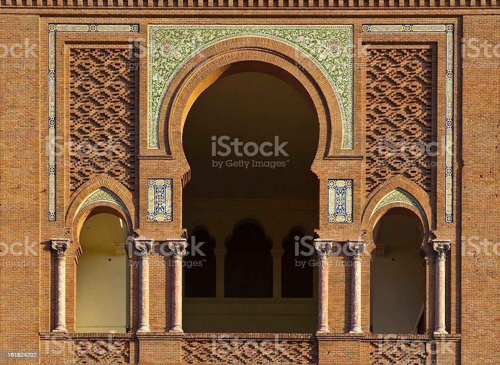Mozarabic Arch in Las Ventas Bullring, Madrid stock photo