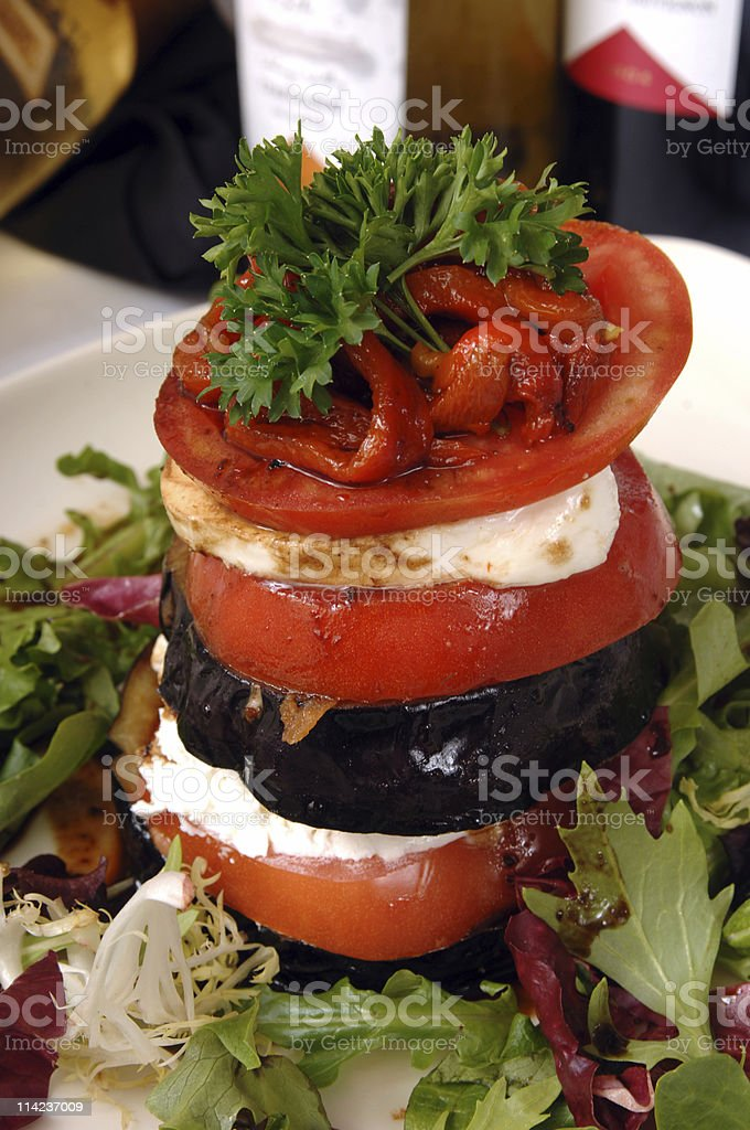 mozarella, pimientos and tomatoes salad royalty-free stock photo