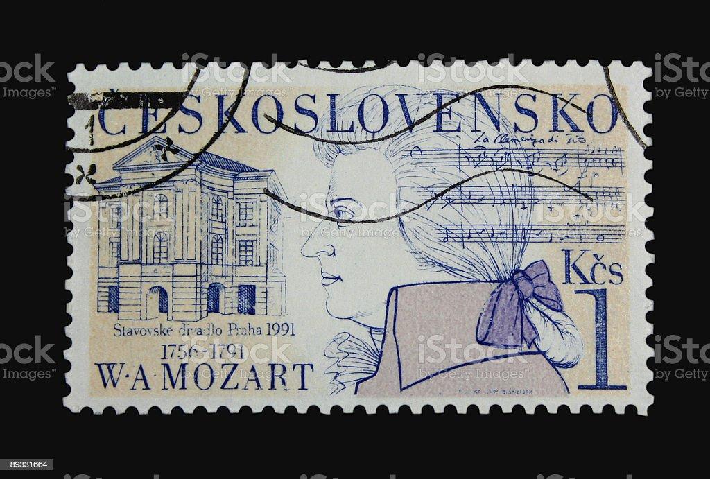 Mozart Postage Stamp royalty-free stock photo