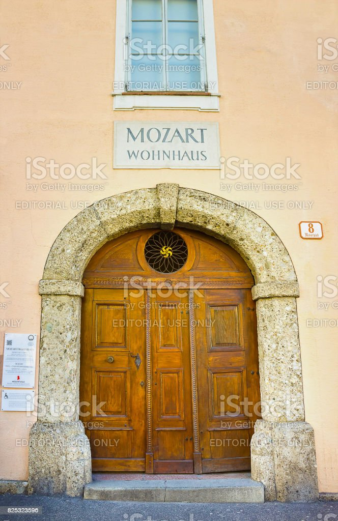 Mozart Wohnhaus residential house of the famous composer Wolfgang Amadeus Mozart in Salzburg, Austria. T stock photo