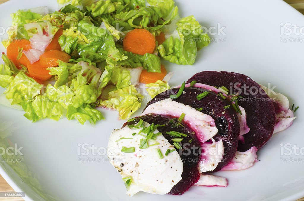 Mozzarella and beetroot salad royalty-free stock photo