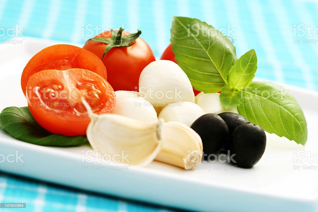 mozzarella and cherry tomatoes royalty-free stock photo