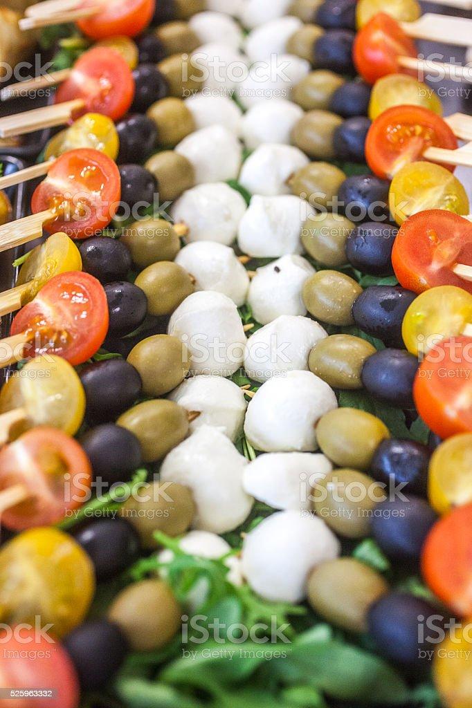 Mozzarella and olives stock photo