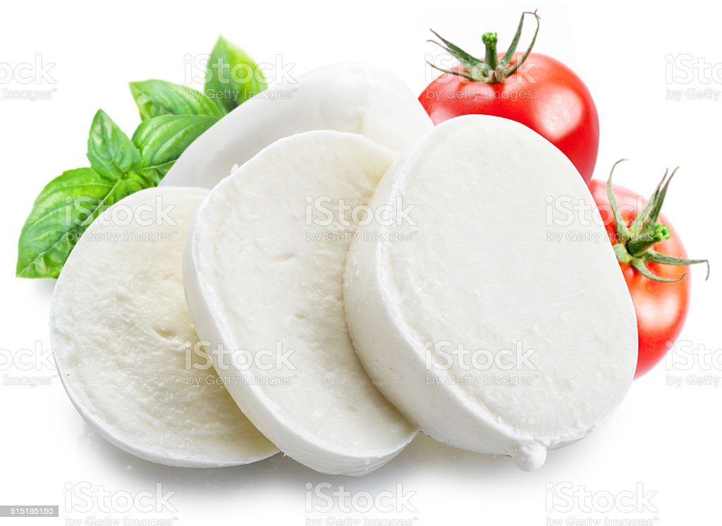 Mozzarella and tomatoes. stock photo