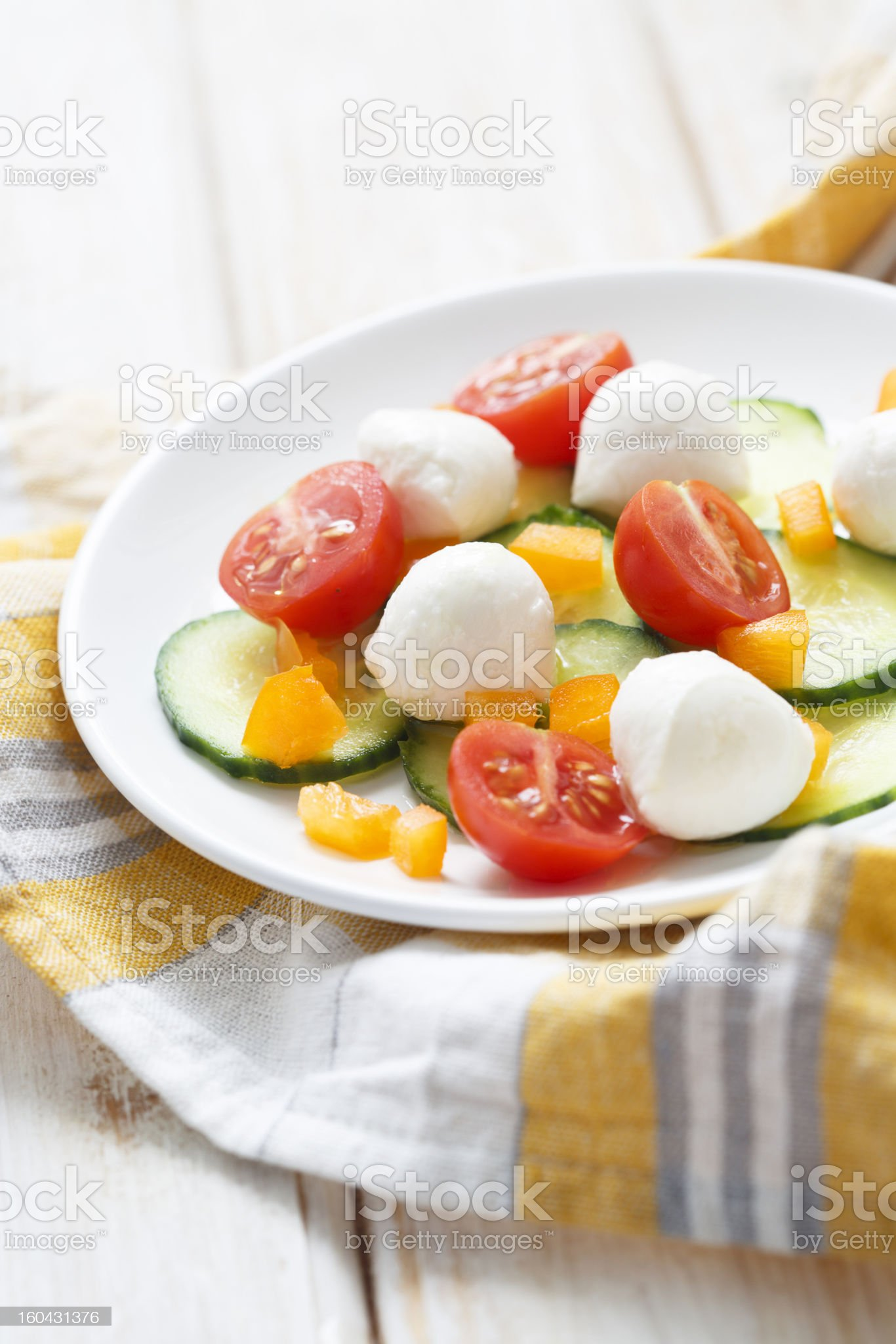 Mozzarella and vegetables salad royalty-free stock photo