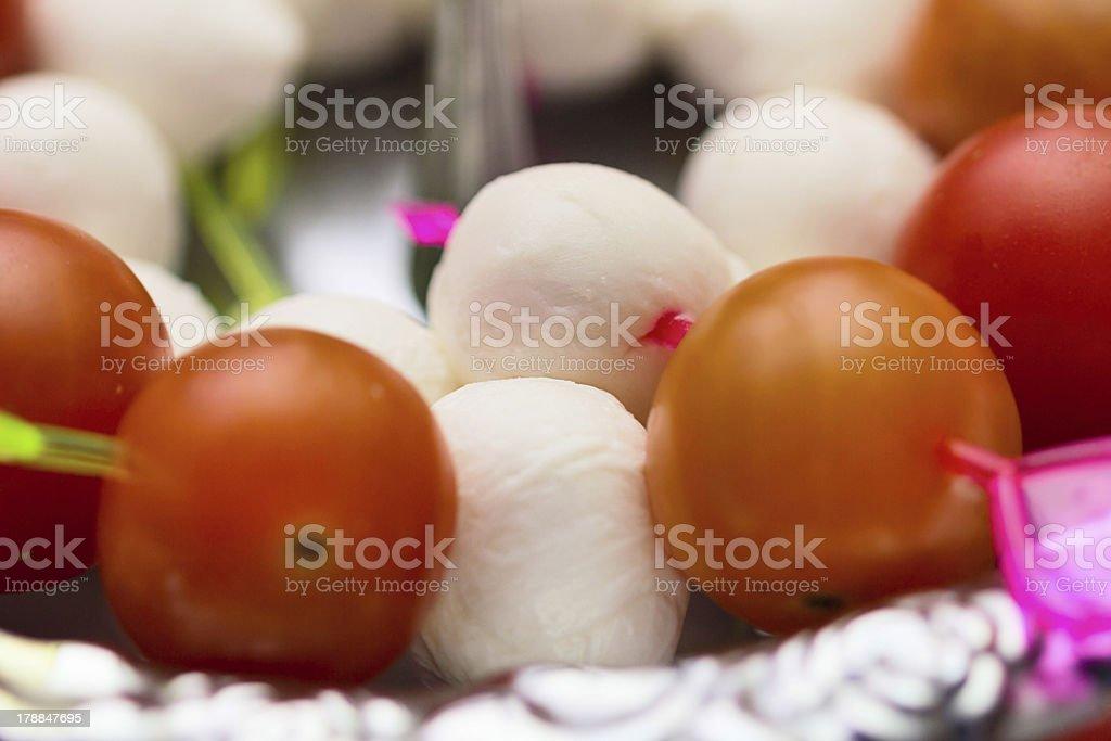 Mozzarella cheese and tomato canape snack royalty-free stock photo