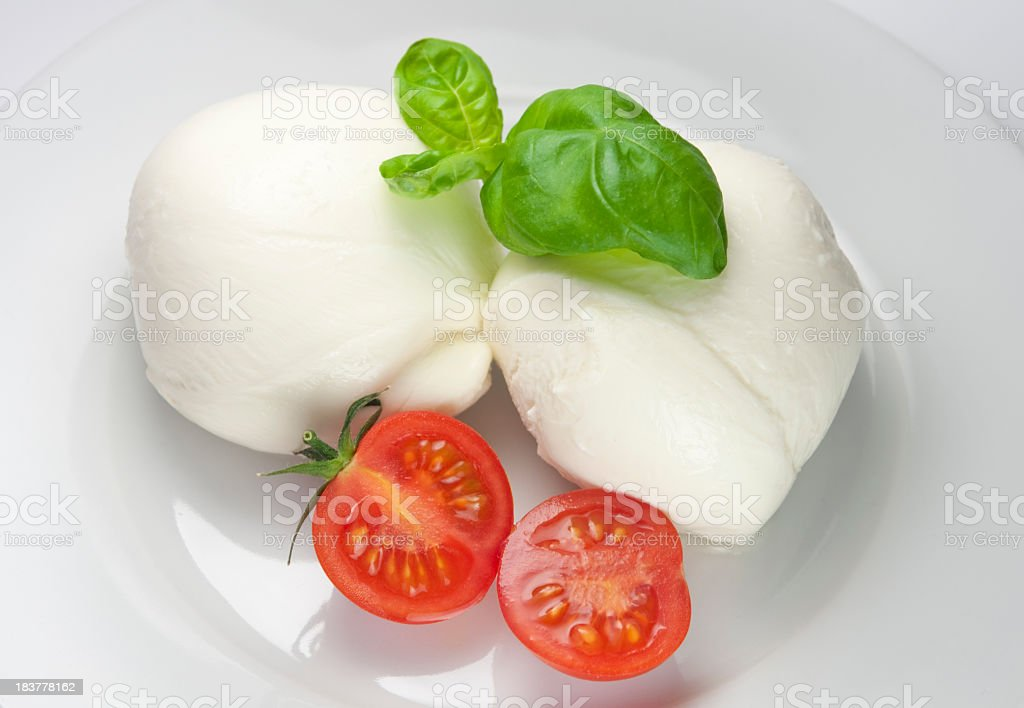 Mozzarella cheese and tomatoes royalty-free stock photo