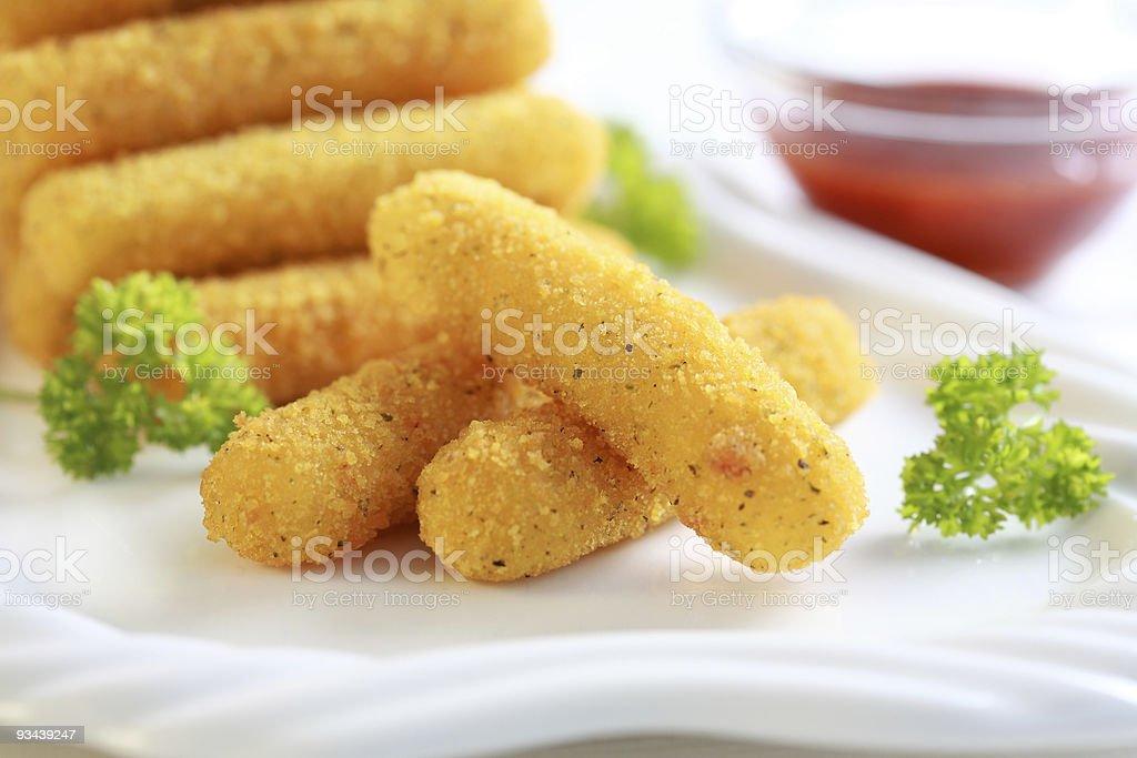 Mozzarella fried sticks stock photo
