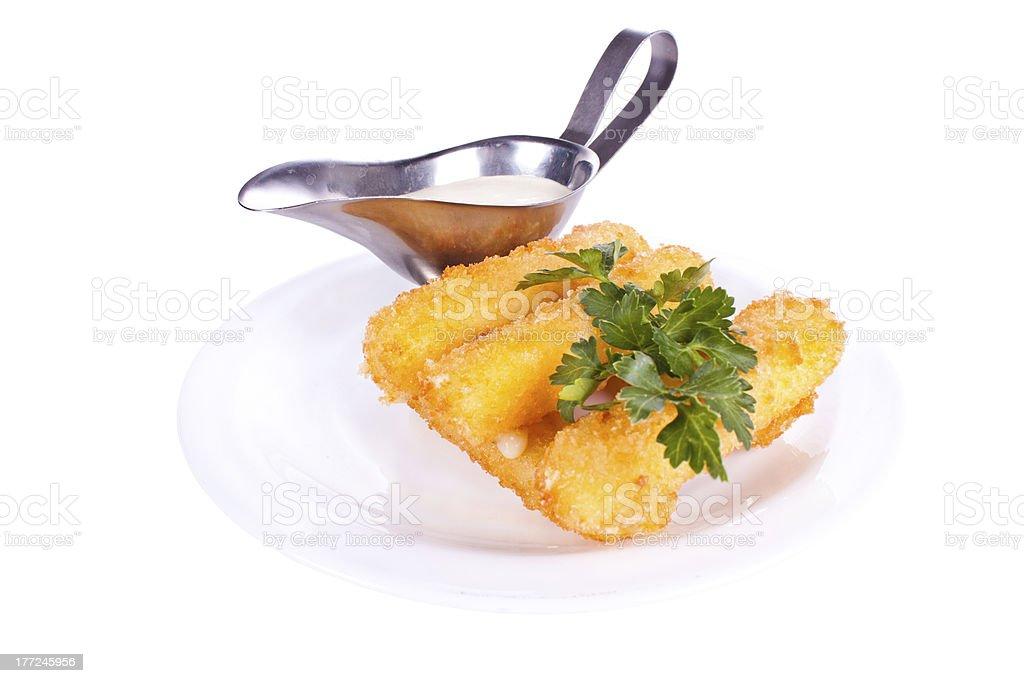 Mozzarella fried with mayonnaise royalty-free stock photo