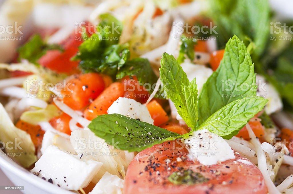 Mozzarella, tomato,  carrot salad in close up stock photo