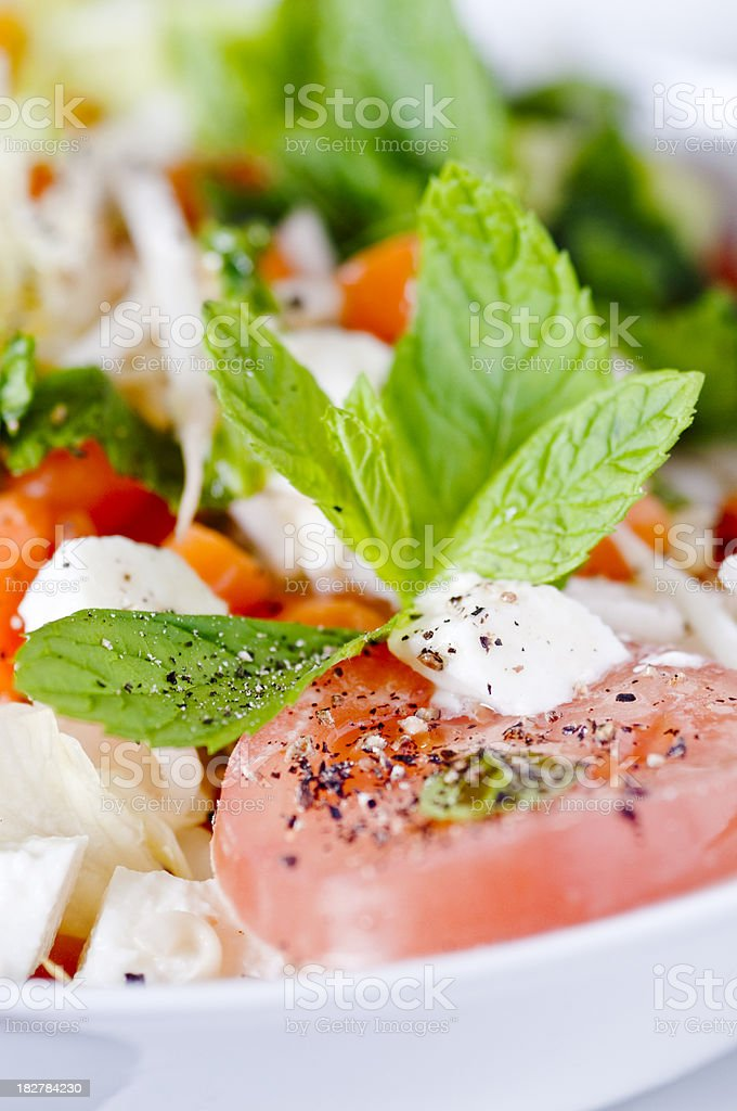 Mozzarella, tomato,  carrot salad in close up royalty-free stock photo