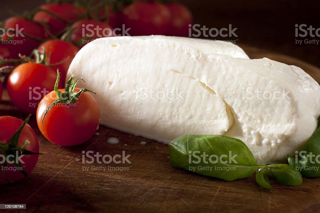 Mozzarella with Tomatoes and Basil royalty-free stock photo
