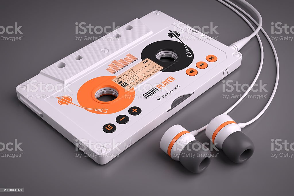 Mp3 portable musical casette player stock photo