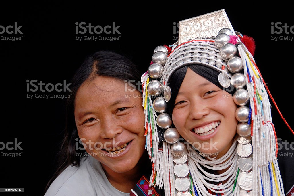 Mpther with Daughter in Traditional Akha Costume stock photo