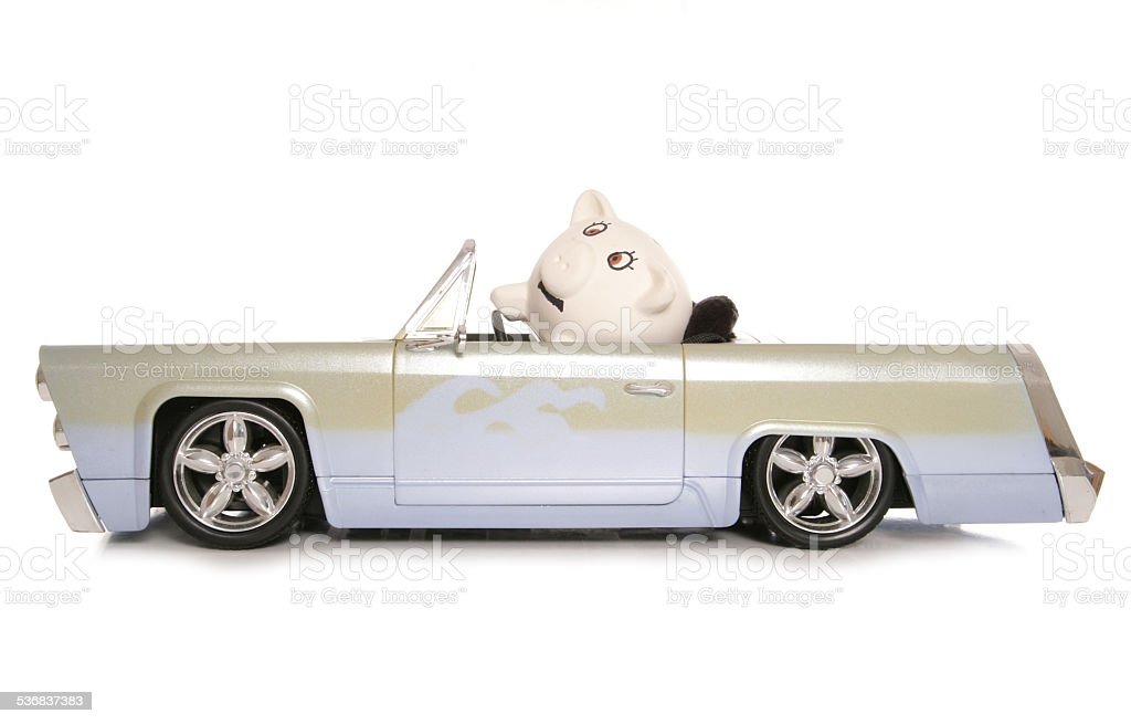 mr and mrs piggy bank in a car stock photo
