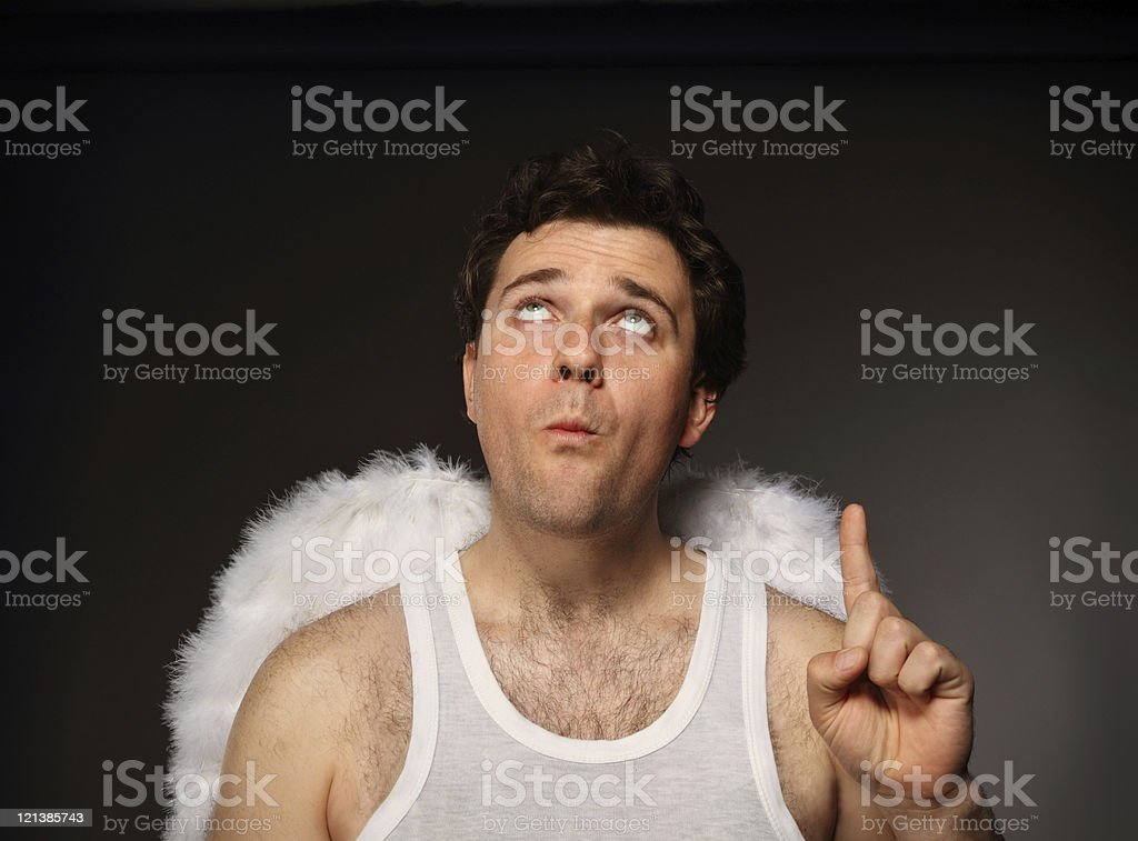 Mr. Angel with white wings stock photo