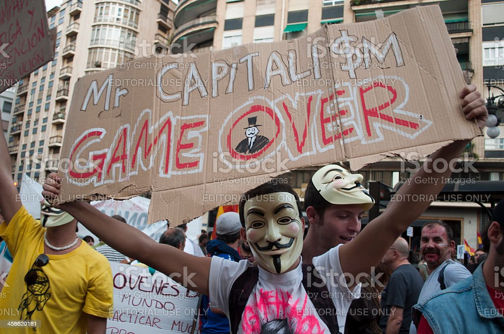 Mr. Capitalism game over stock photo