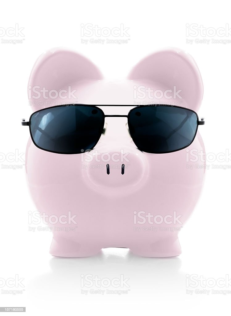 mr. cool piggybank royalty-free stock photo
