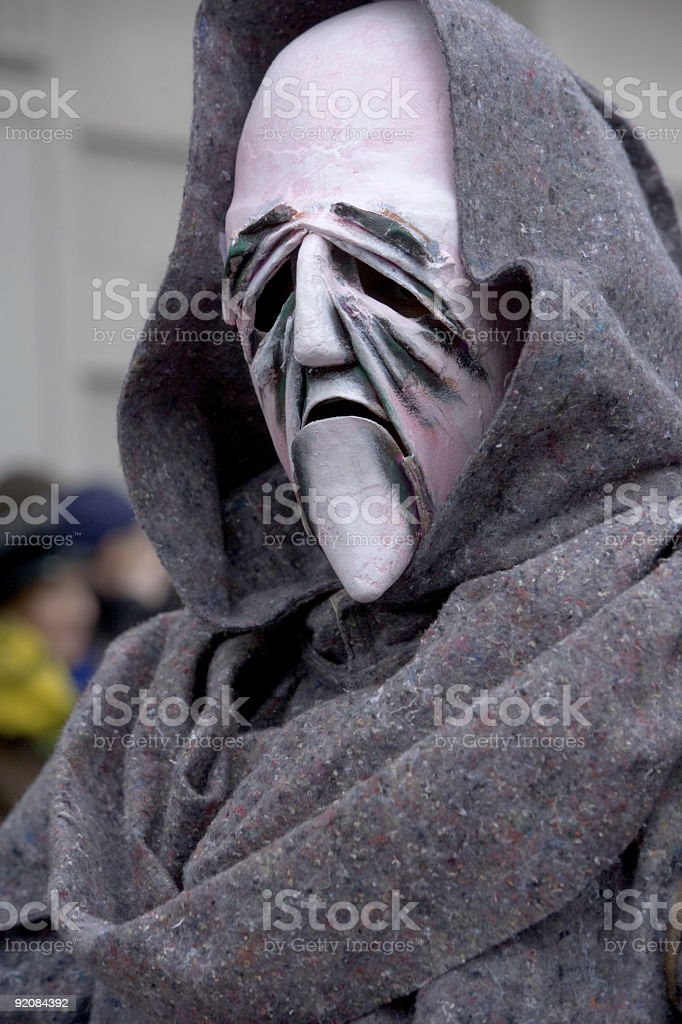 Mr. Death - Bizarre mask at Fasnacht Festival Basel Switzerland royalty-free stock photo