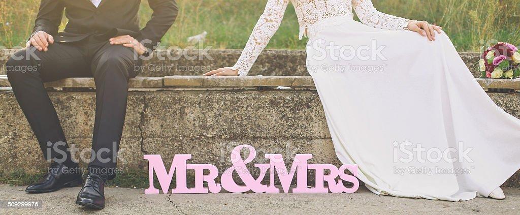 Mr & Mrs stock photo
